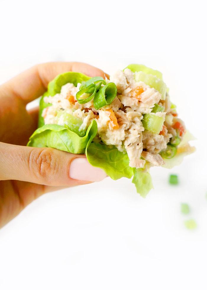Mayo-free Creamy Tuna Lettuce Wraps