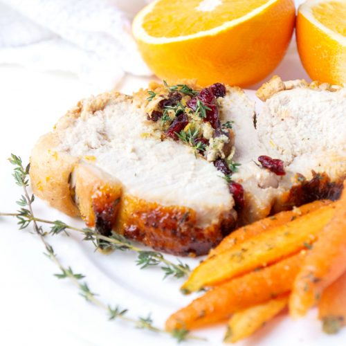 Cranberry & Pistachio Stuffed Turkey Breast with Orange Honey Glaze