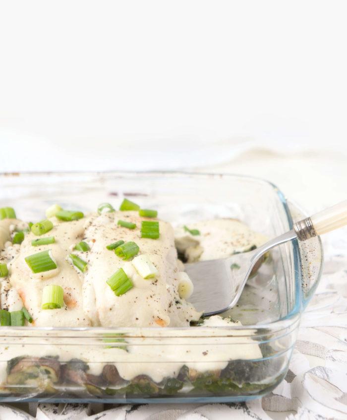 Creamy Dairy-free Salmon Florentine