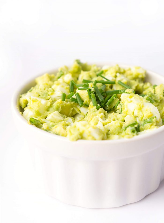Avocado Egg Salad in a White Ramekin