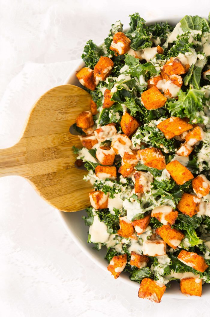 Sweet Potato Kale Bowl with Creamy Roasted Garlic Dressing