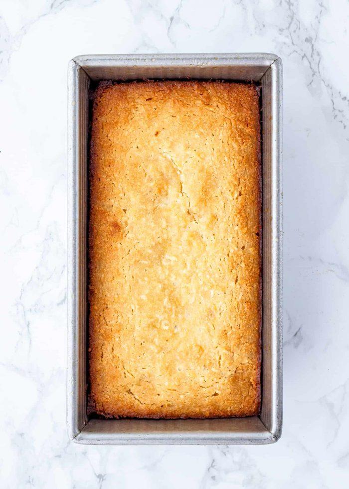 Baked lemon loaf in a pan