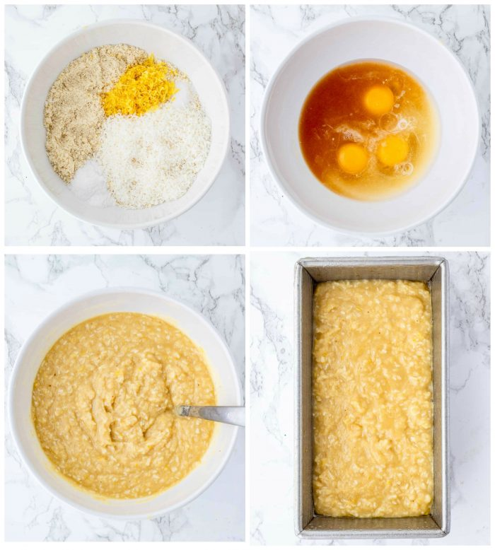 Collage of step by step photos to make lemon loaf