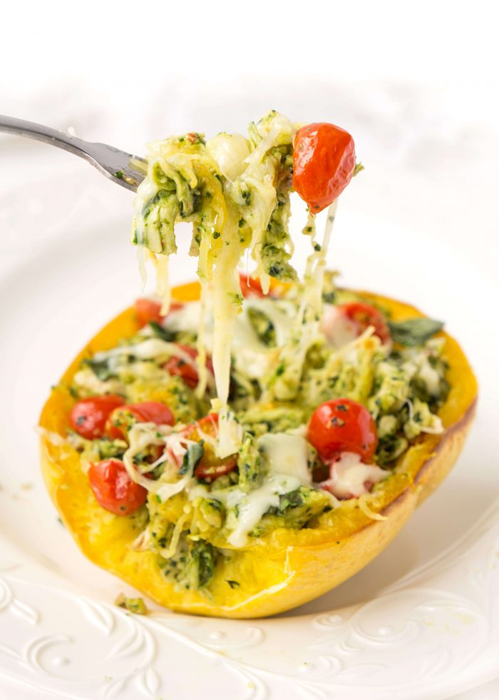 Pesto Chicken Stuffed Spaghetti Squash