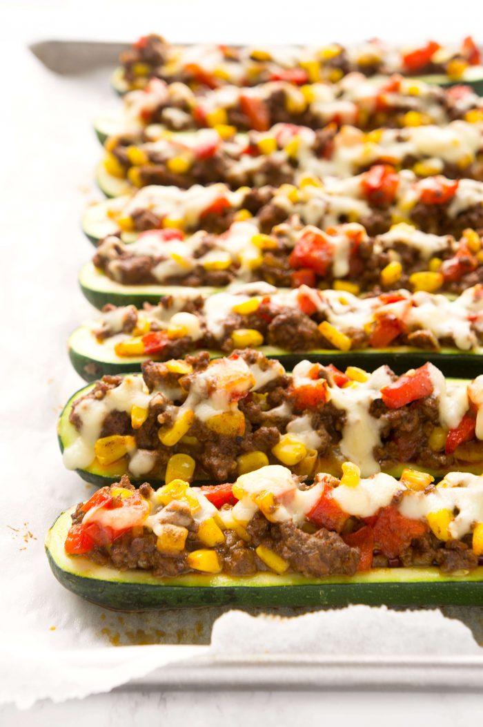 Stuffed Beef Enchilada Zucchini Boats