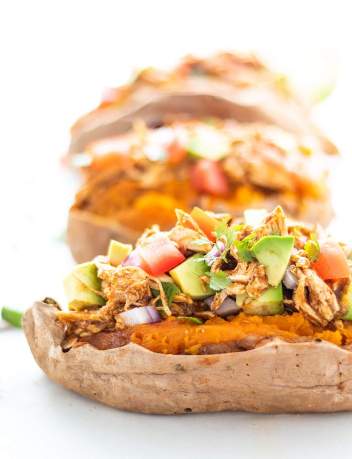 Chicken Enchilada Stuffed Sweet Potatoes