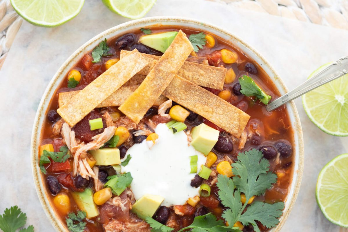 Healthy Slow Cooker Chicken Tortilla Soup