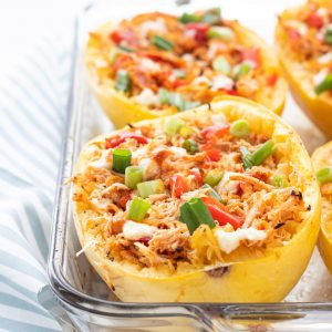 Buffalo Chicken Stuffed Spaghetti Squash