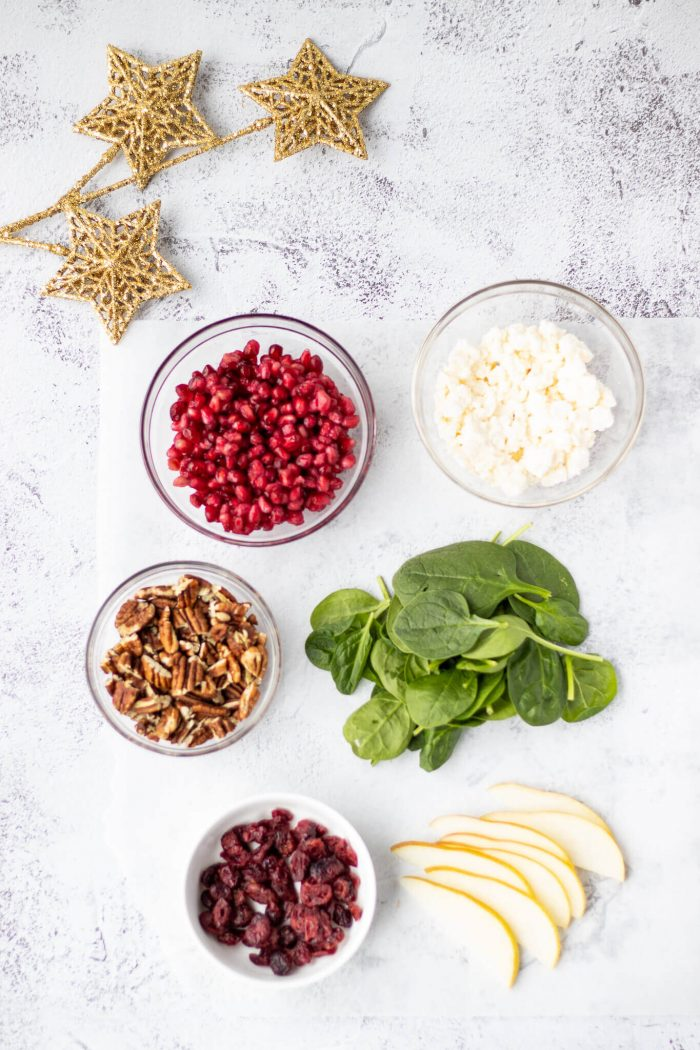 Pear & Pomegranate Christmas Wreath Salad