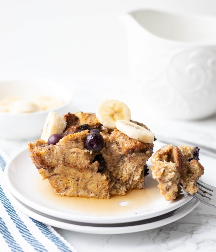 Blueberry Banana Baked French Toast Casserole
