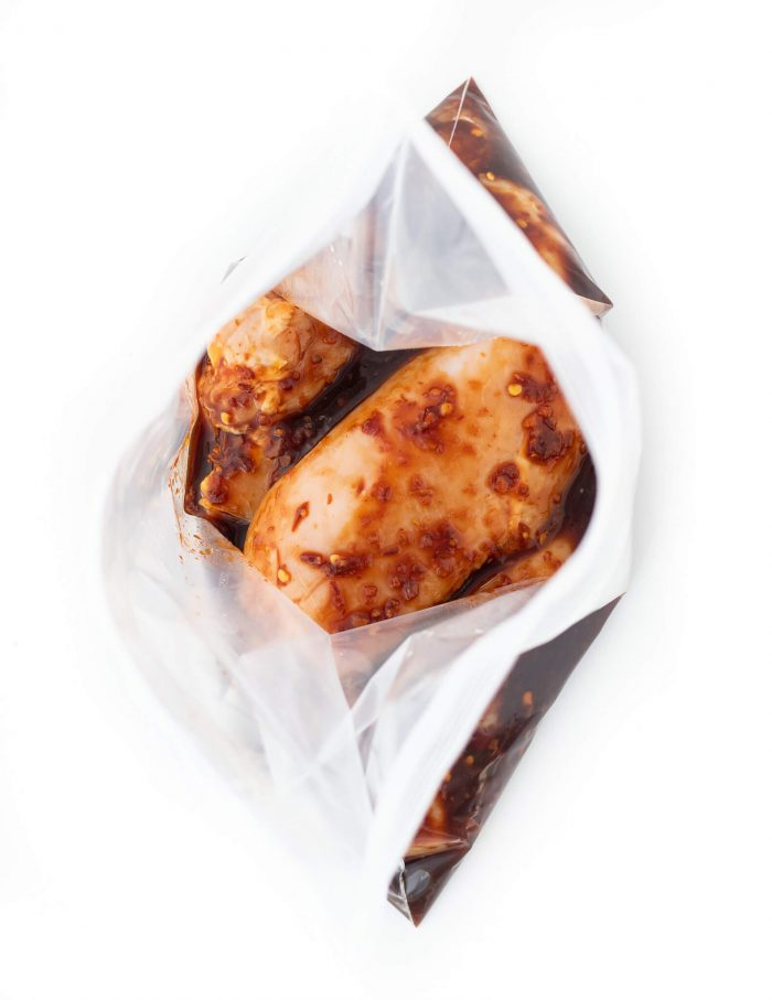 Chili Garlic Chicken Marinade in ziplock bag
