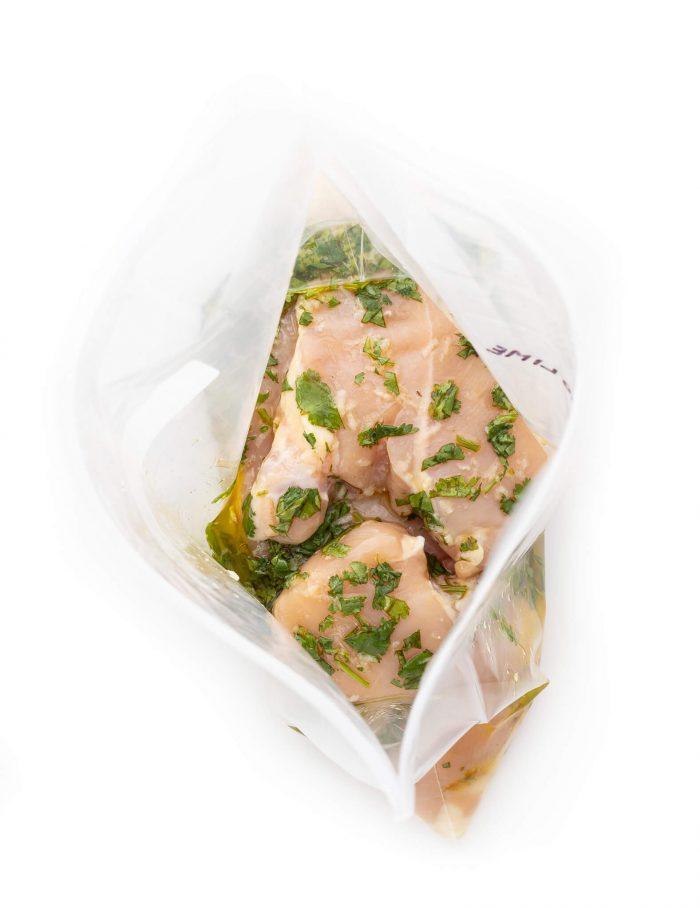 Cilantro lime chicken marinade in ziploc bag