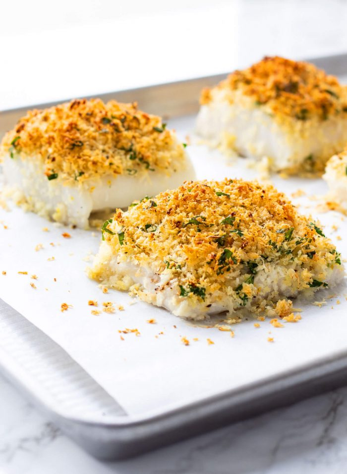 parmesan crusted cod on baking sheet