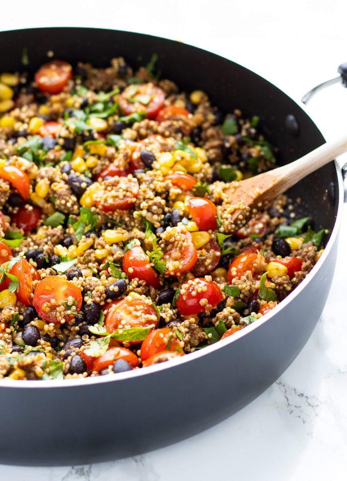 pot of tex mex quinoa