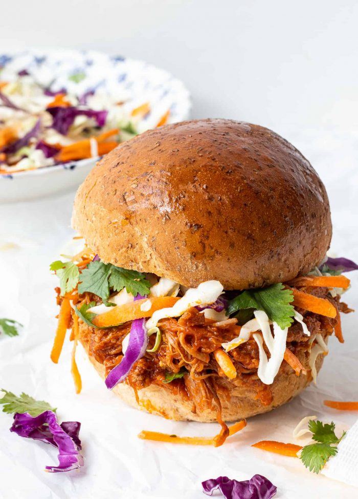 Pulled pork on a bun with coleslaw