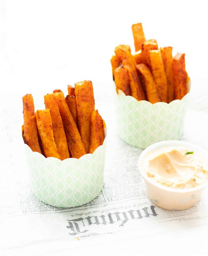 sweet potato fries in cups