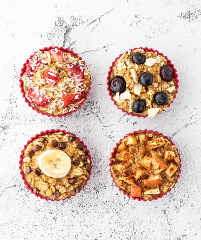 four different types of oatmeal cups