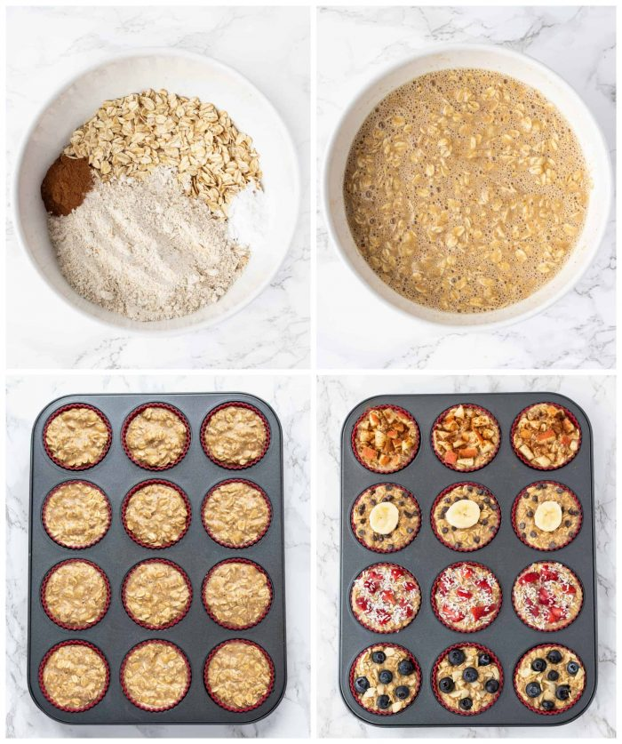 collage of baked oatmeal cups