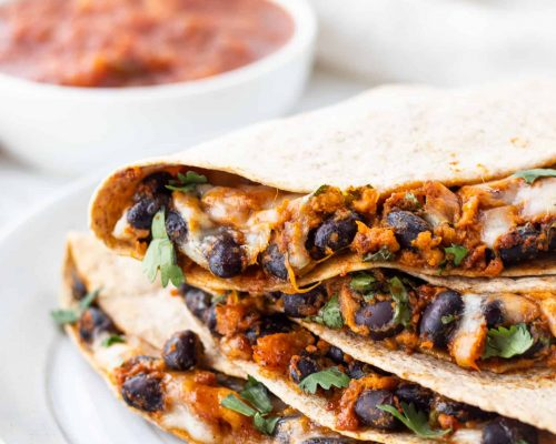 stack of black bean quesadillas