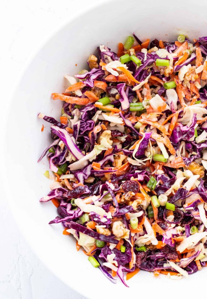 prepared coleslaw in a large bowl