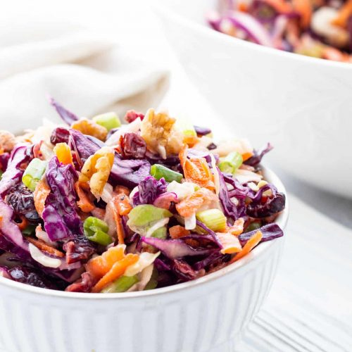 prepared coleslaw dished out in a bowl