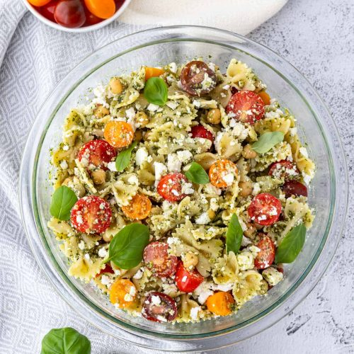Healthy pasta salad in a glass bowl