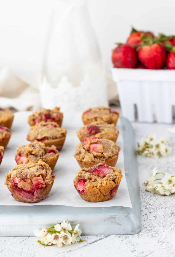 mini muffins on a rustic tray