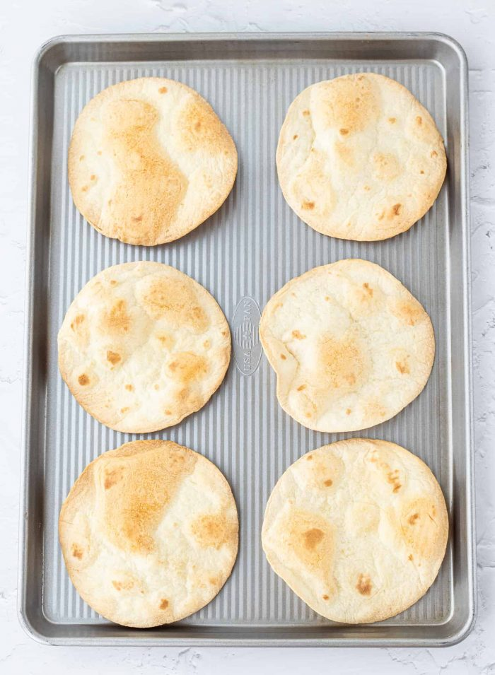 Crispy tortillas on baking sheet
