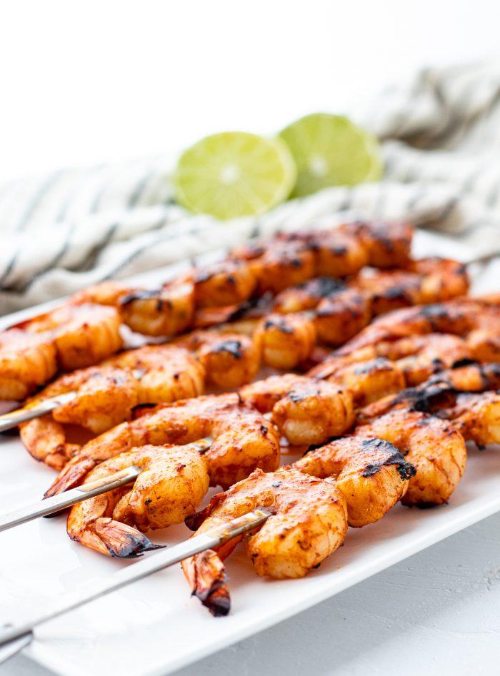 grilled shrimp on a platter