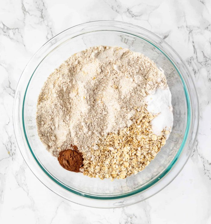 Dry ingredients mixed together in a glass bowl