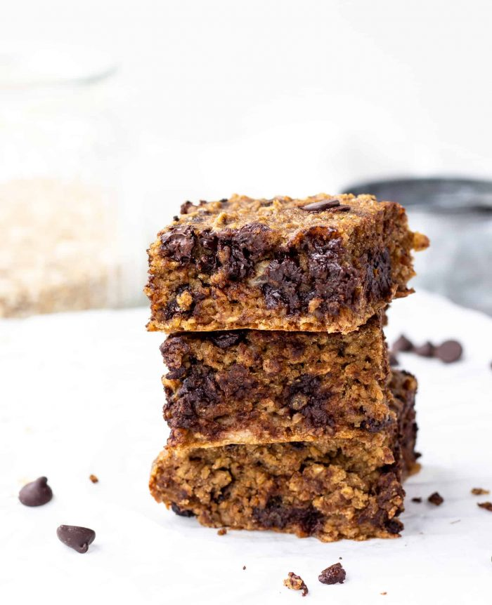 Three breakfast oatmeal bars stacked on top of eachother