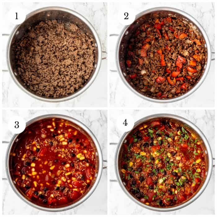 step by step photos for how to make quinoa chili with numbers