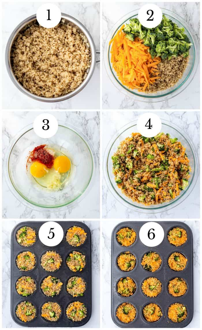step by step collage for making broccoli cheddar quinoa bites