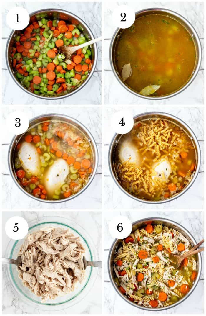 step by step photos for how to make homemade chicken noodle soup