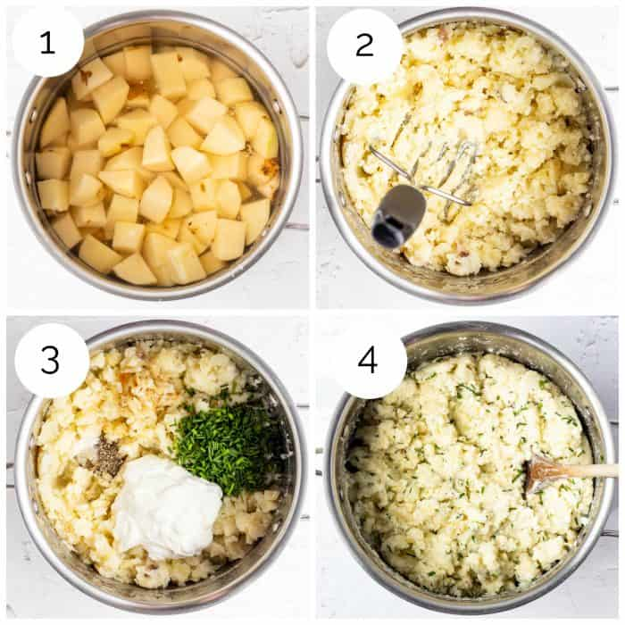 Four step by step photos showing how to make the recipe.