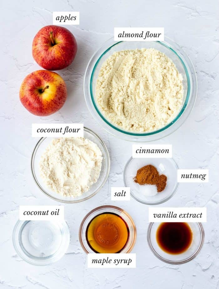 ingredients required for healthy apple crumble on grey background