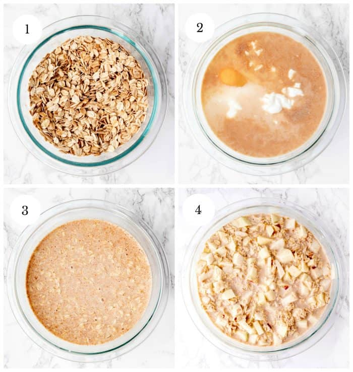 Four step by step photos to show how to make the oatmeal mixture.