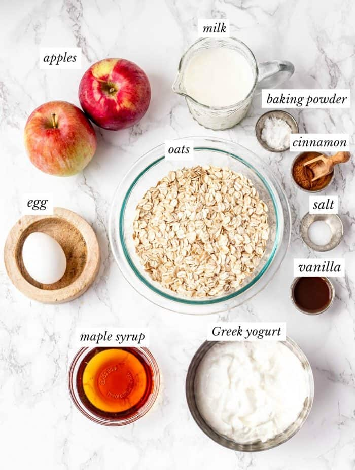 The ingredients in bowls on a kitchen surface.