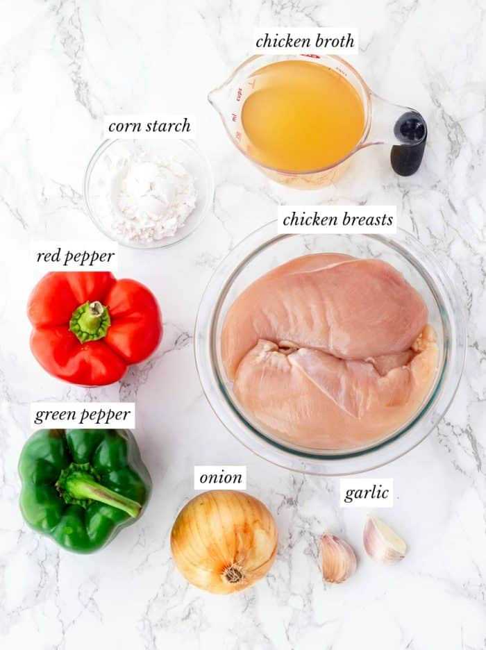 Ingredients for the recipe in glass bowls.