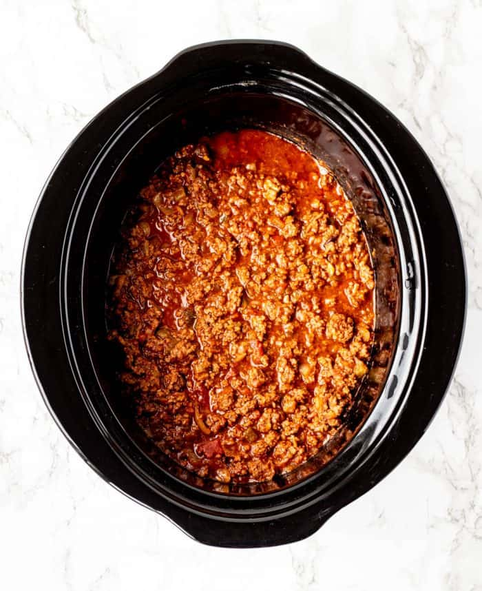 The Crock Pot taco meat after cooking.