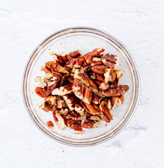 Maple glazed pecans in a bowl