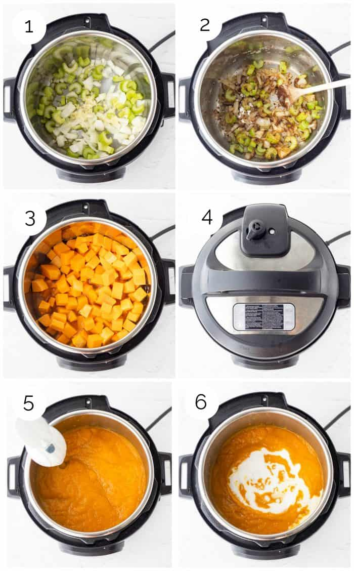 Six step by step photos to show how to make Instant Pot butternut squash soup.