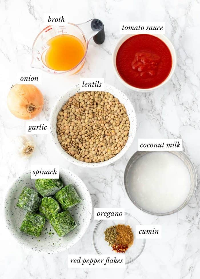 Ingredients for lentil bolognese on a marble background with labels