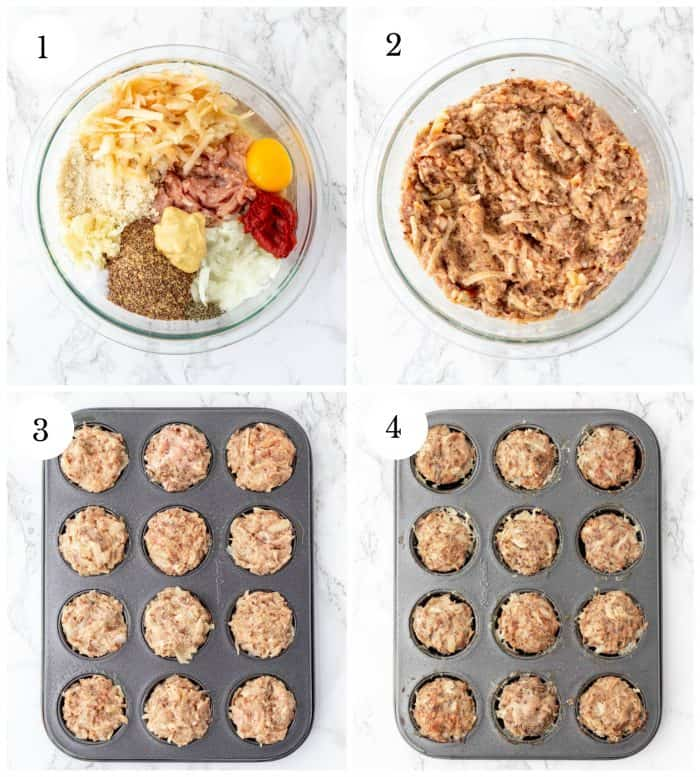 step by step collage for making turkey meatloaf muffins