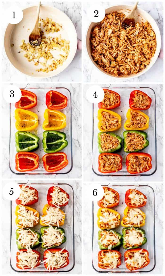 step by step collage of steps required to make chicken stuffed peppers