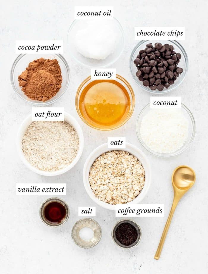The ingredients for the recipe in glass bowls.