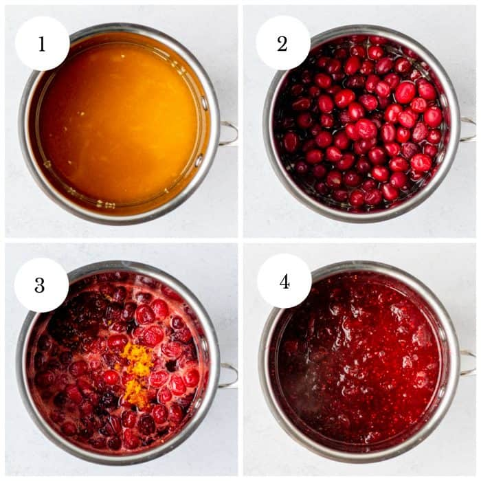 Four step by step photos to show how to make the cranberry sauce.