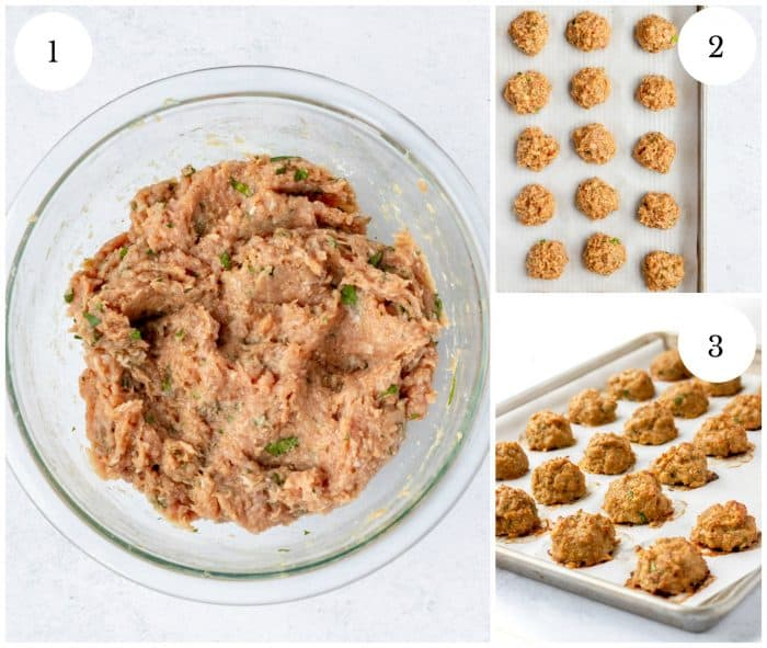 Three photos to show how to make the meatballs.