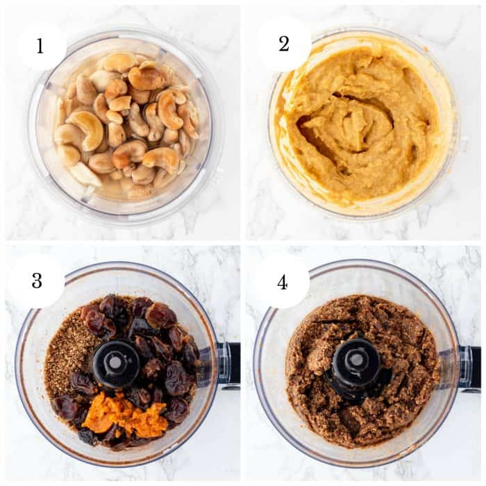 step by step collage for making vegan pumpkin cheesecake bites