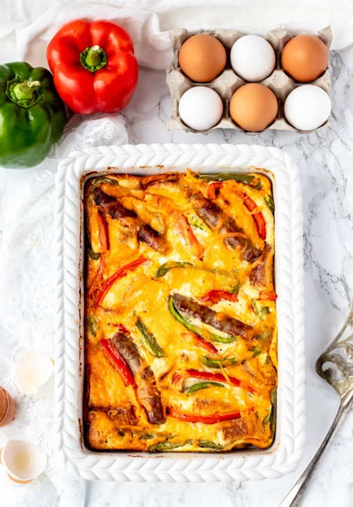 The baked casserole in a white baking dish.